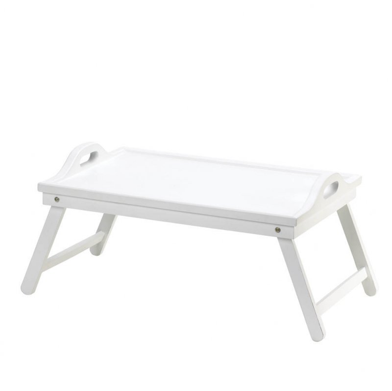 Image 2 of White Serving Tray with Handles or Breakfast in Bed Folding Tray w/ Legs