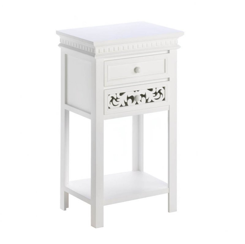 Image 1 of White Fleur De Lis Accent, End, Night Stand Double Drawer Table Bottom Shelf