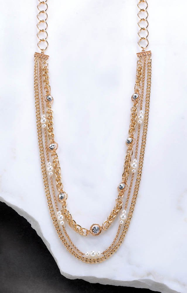 Image 1 of Golden Layered Chain Necklace with Faceted Crystals and Faux Pearls