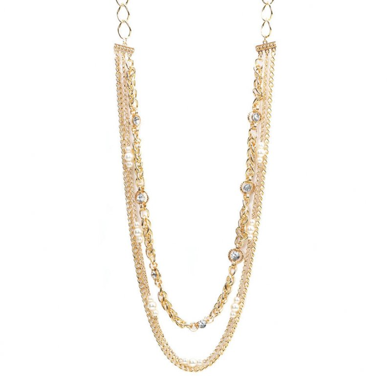 Image 2 of Golden Layered Chain Necklace with Faceted Crystals and Faux Pearls