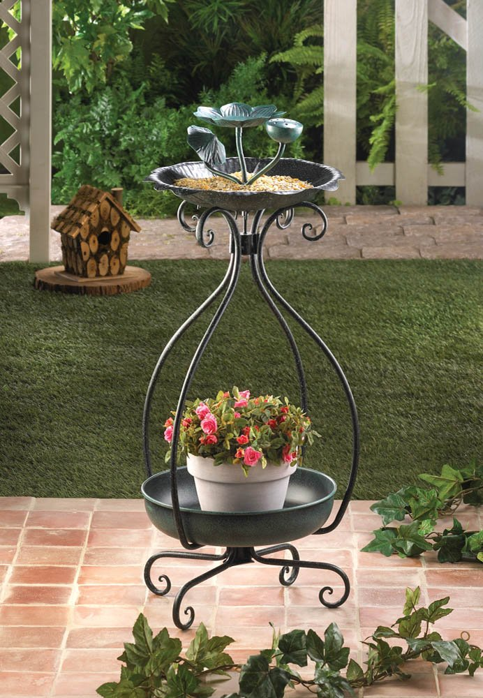 Image 0 of Flower Shaped Bird Feeder with Bottom Space for Planter Garden Decor