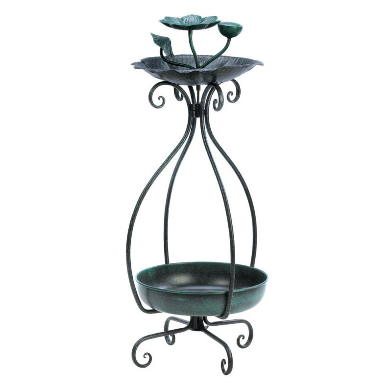 Image 1 of Flower Shaped Bird Feeder with Bottom Space for Planter Garden Decor