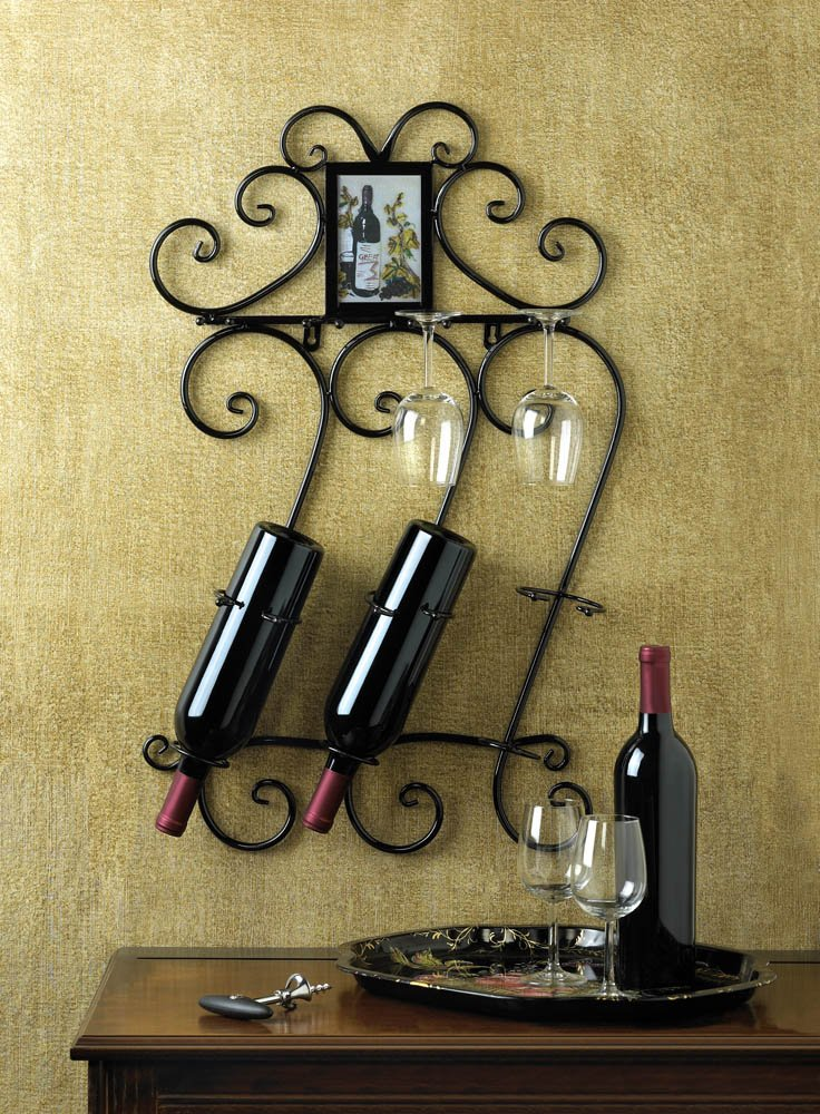 Image 0 of Scrollwork Wall Wine Rack w/ Photo Frame Holds 3 Wine Bottles, 4 Wine Glasses