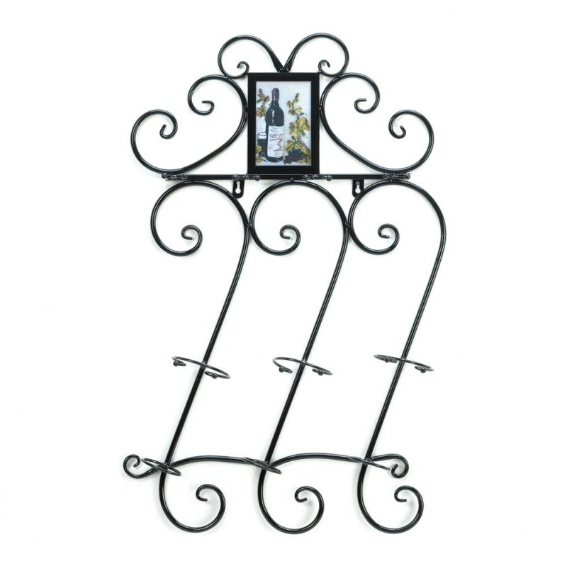 Image 1 of Scrollwork Wall Wine Rack w/ Photo Frame Holds 3 Wine Bottles, 4 Wine Glasses