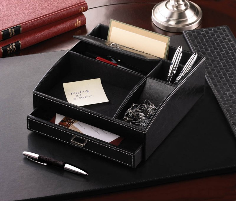 Black Faux Leather Desk Organizer with Pull Out Drawer