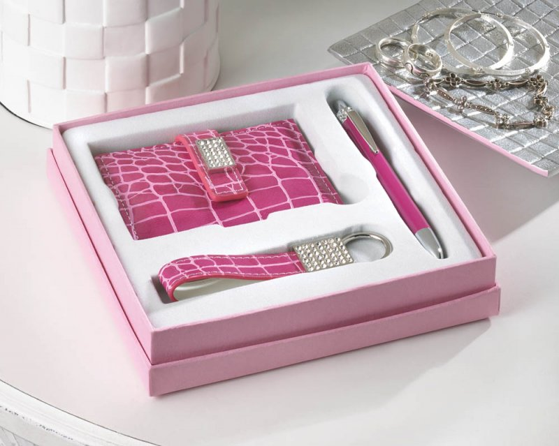 Glamorous Pink Executive Pen, Key Ring, Notebook & Business Card ...
