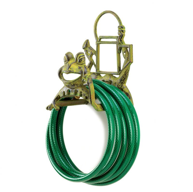 Image 1 of Frolicking Smiling Frog and Watering Can Garden Hose Organizer Reel Cast Iron