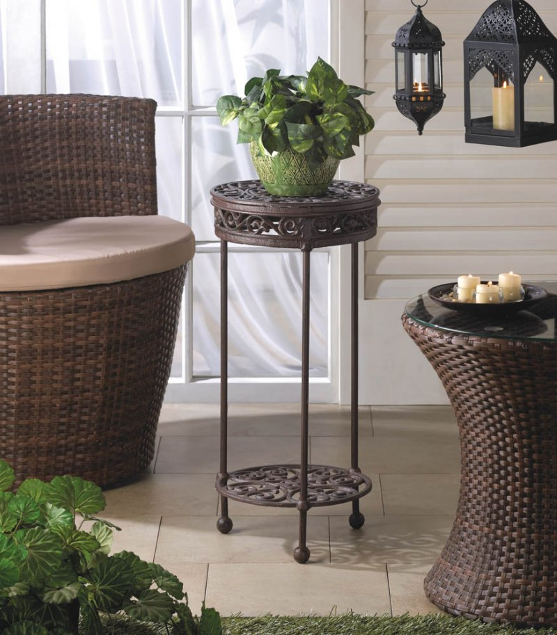 Image 0 of Cast Iron Two-Tiered Round Plant Stand