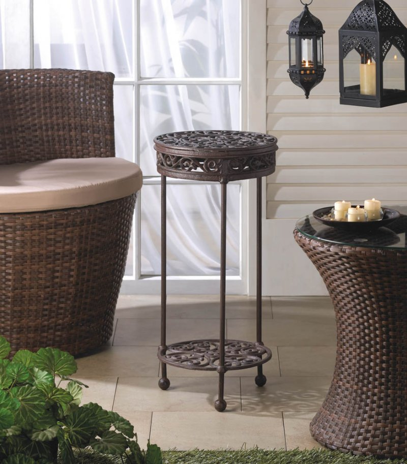 Image 1 of Cast Iron Two-Tiered Round Plant Stand