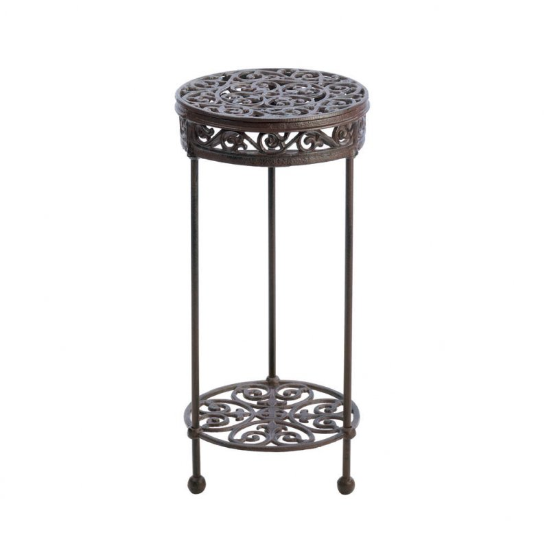 Image 2 of Cast Iron Two-Tiered Round Plant Stand