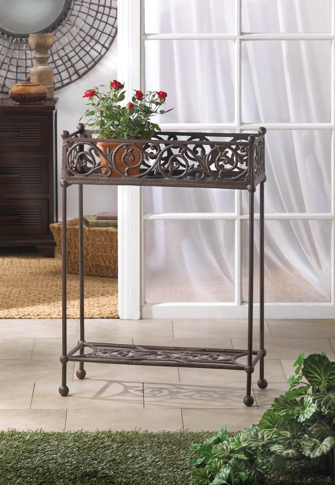 Cast Iron Two-Tiered Rectangular Plant Stand with Bottom Display Shelf