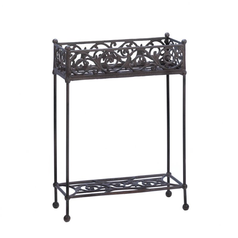 Image 1 of Cast Iron Two-Tiered Rectangular Plant Stand with Bottom Display Shelf