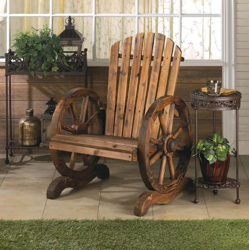 Rustic Wagon Wheel Couple's Bench Chair with Flared Backs