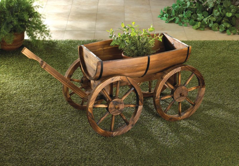 Apple Barrel Wagon Wheel Planter Cart Wagon Garden, Patio Decor