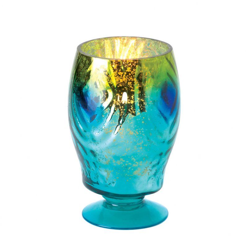 Peacock Blue Color Glass Hurricane Lantern Candle Holder