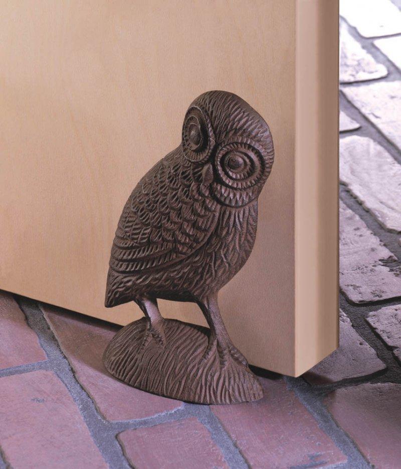 Image 0 of Owl Door Stopper Figurine Cast Iron