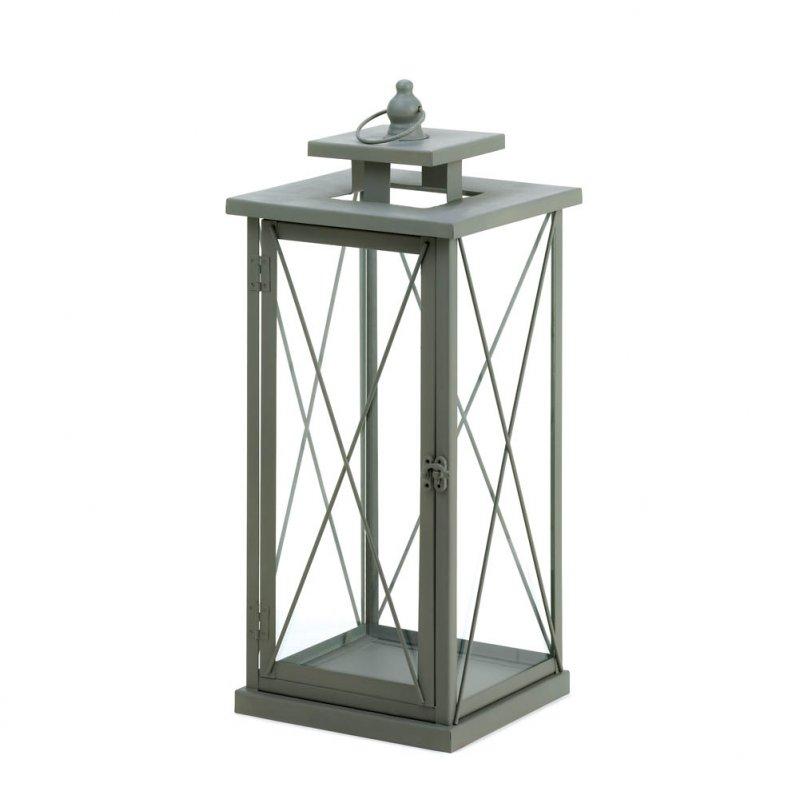 Large Craftsman Gray Hanging/Tabletop Pillar Candle Lantern Indoors Or  Outdoor