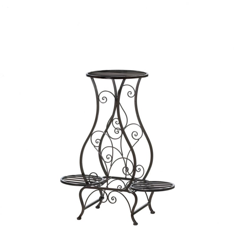 Image 1 of Decorative Curling Embellishments Hourglass Shape Triple Pot Plant Stand