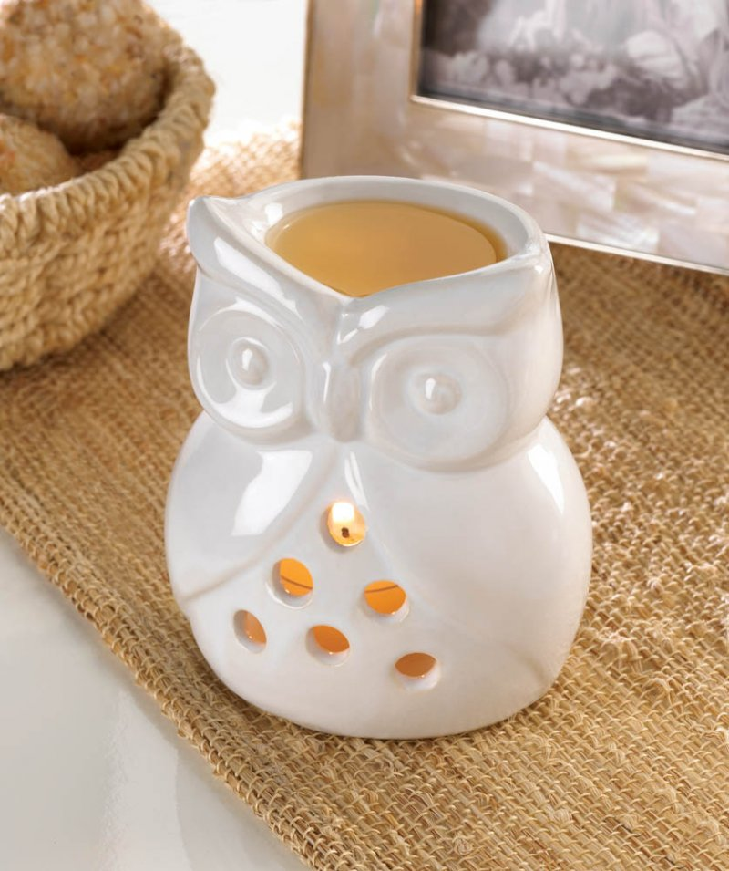 Charming White Owl Oil Warmer