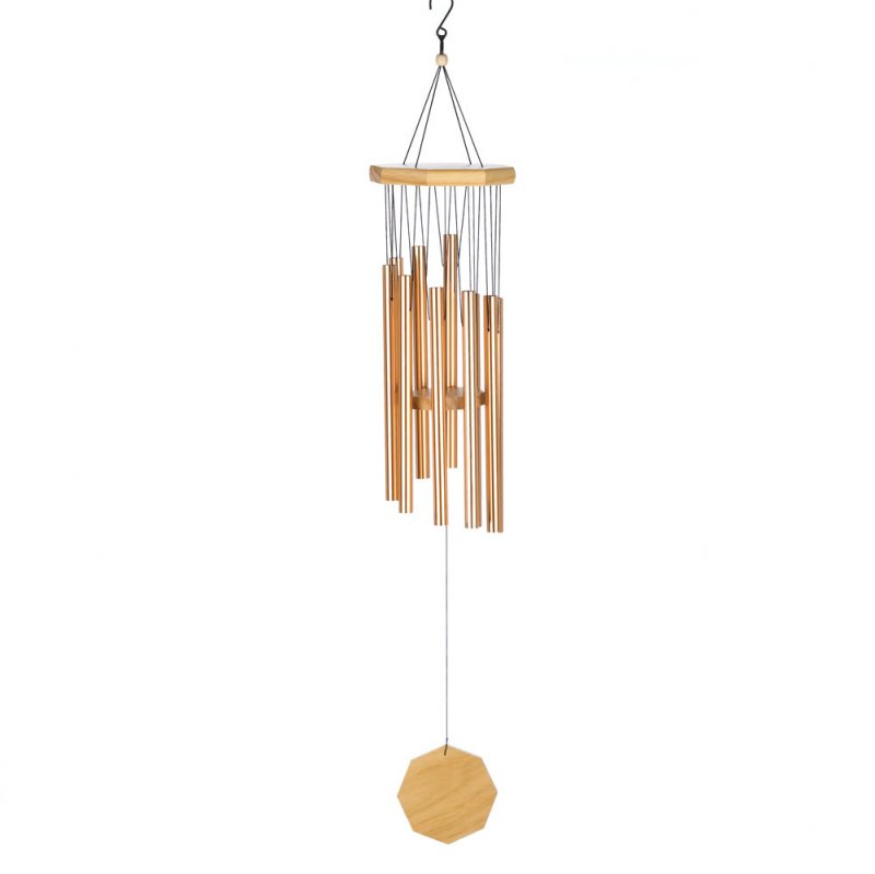 Copper-Tone Pipes Wind Chime with Hanging Octagonal Wood Ornament.
