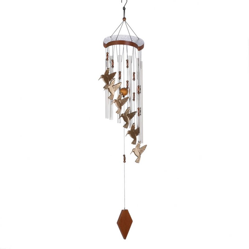 Hummingbird Cutouts Flutter Wind Chime with Beads and Wood Accents