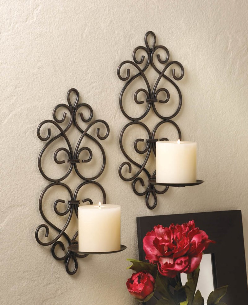 Image 0 of Set of 2 Burgeon Scrollwork Wrought Iron Votive or Pillar Candle Wall Sconces