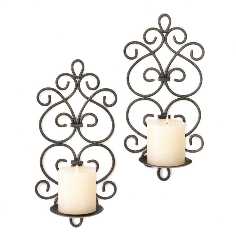 Image 1 of Set of 2 Burgeon Scrollwork Wrought Iron Votive or Pillar Candle Wall Sconces
