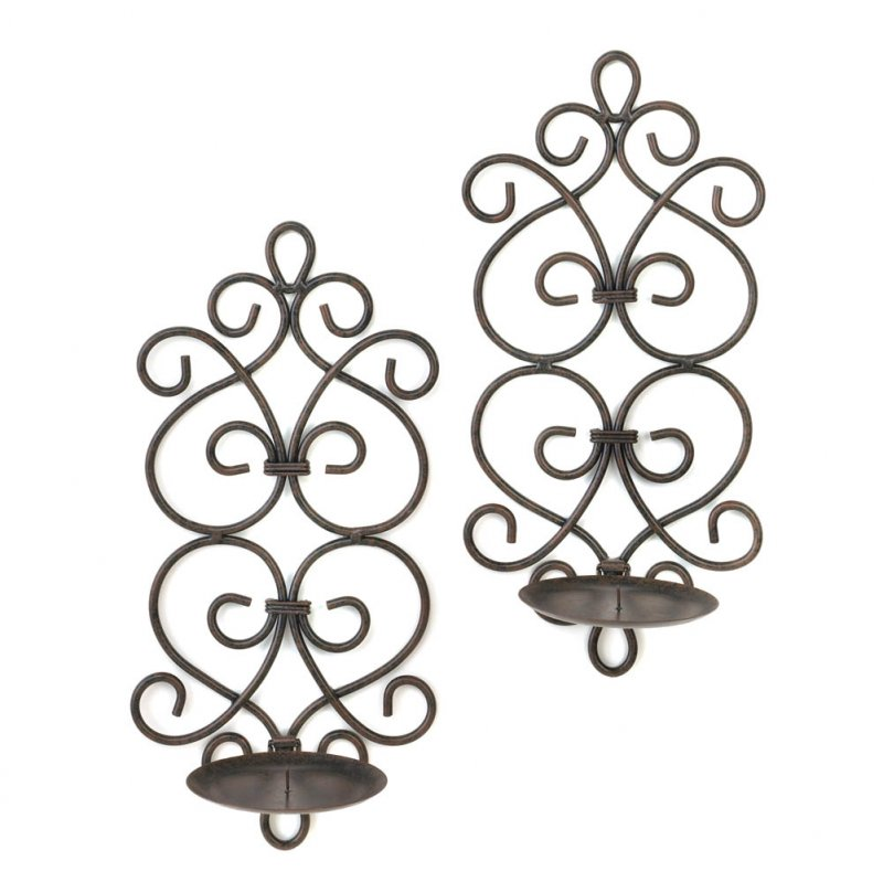 Image 2 of Set of 2 Burgeon Scrollwork Wrought Iron Votive or Pillar Candle Wall Sconces