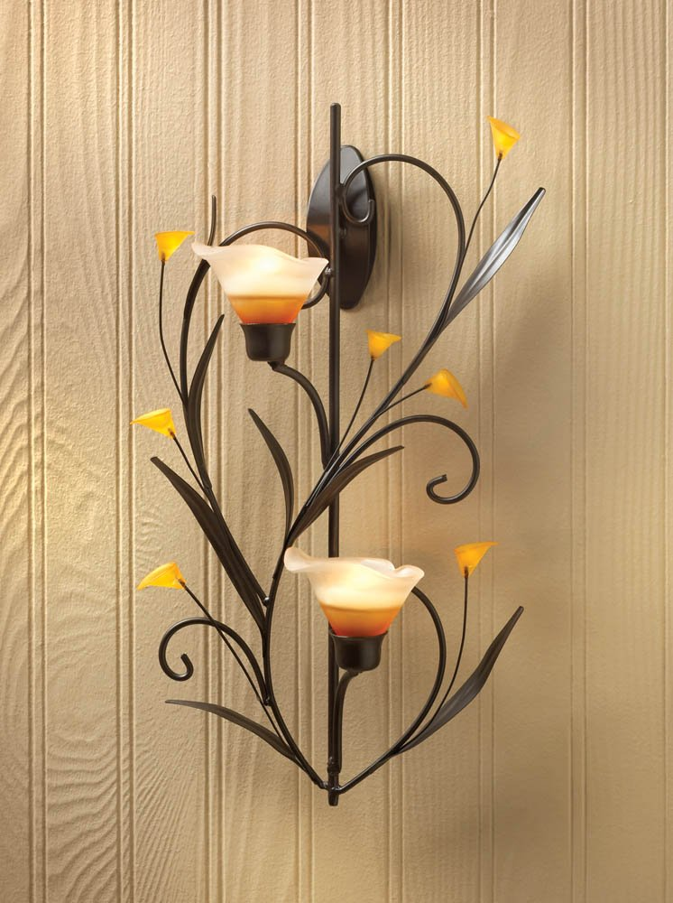Amber Lily Candle Wall Sconce Two Cup Candle Holder