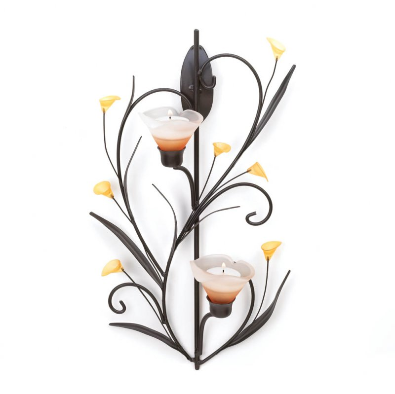 Image 1 of Amber Lily Candle Wall Sconce Two Cup Candle Holder