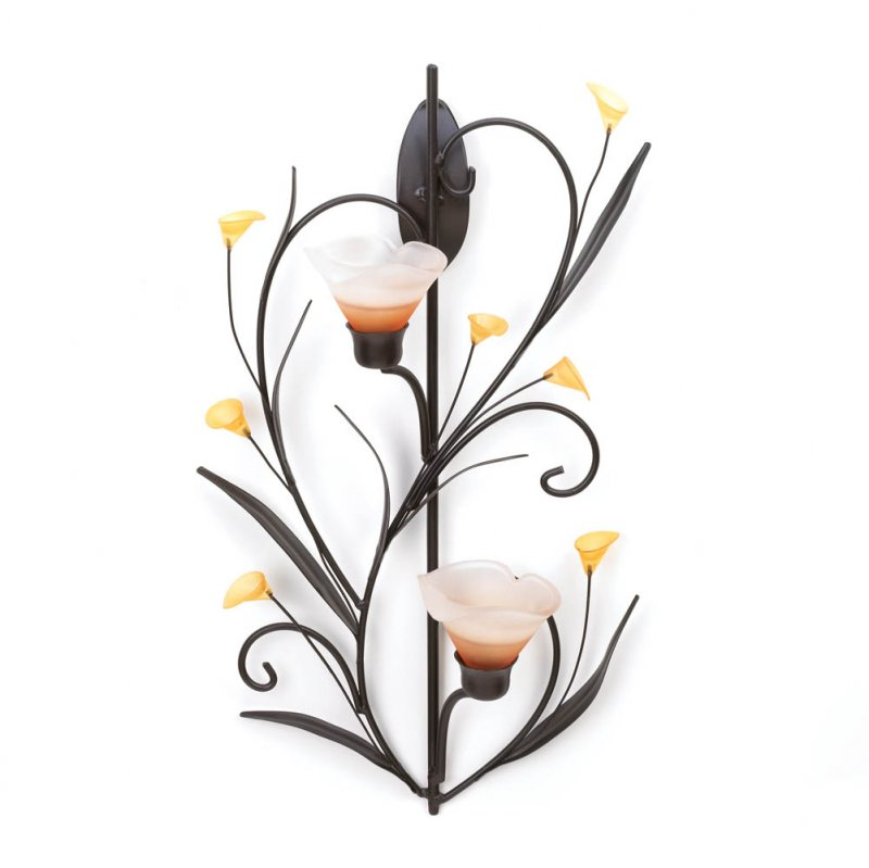 Image 2 of Amber Lily Candle Wall Sconce Two Cup Candle Holder