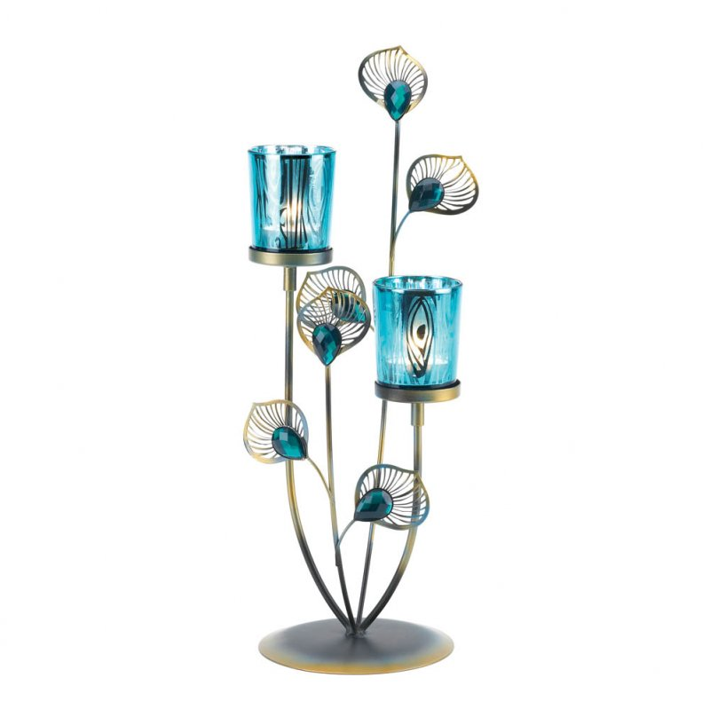Image 1 of Peacock Plume Candle Holder with Blue Peacock Pattern Glass Cups Centerpiece