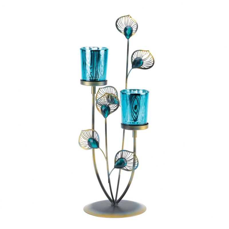 Image 2 of Peacock Plume Candle Holder with Blue Peacock Pattern Glass Cups Centerpiece