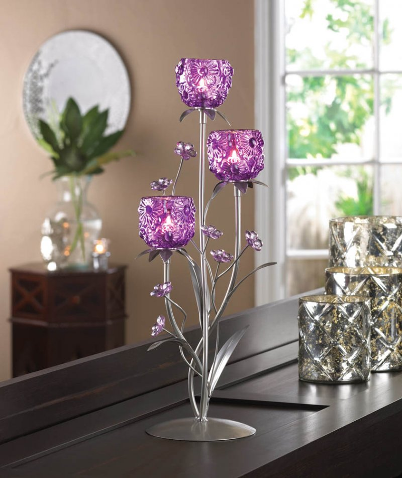 Fushsia Blooms Glass Cups on Silvery Leaf Stem Stand Candle Holder Centerpiece
