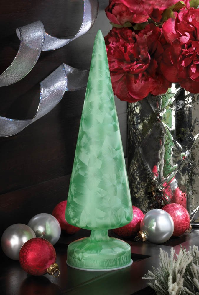 Image 0 of Magical Polychrome Glass Green Tree Figurine LED Lights a Colorful Display