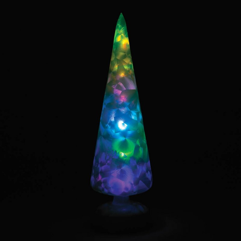 Image 1 of Magical Polychrome Glass Green Tree Figurine LED Lights a Colorful Display