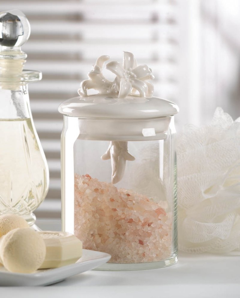 White Porcelain Flower Top Glass Decorative Jar Storage for Bath, Kitchen