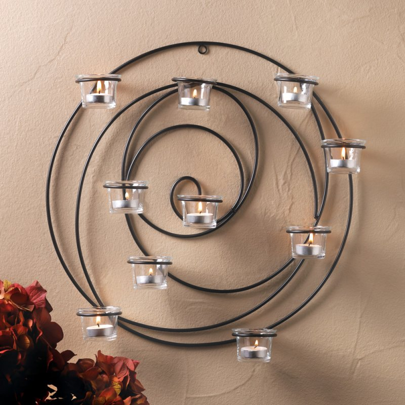 Image 0 of Hypnotic Circular 10 Cup Candle Wall Sconce
