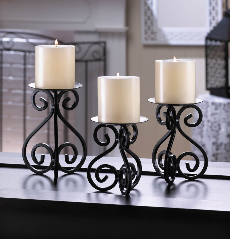 Set of 3 Black Scrollwork Pillar Candle Holder Stands