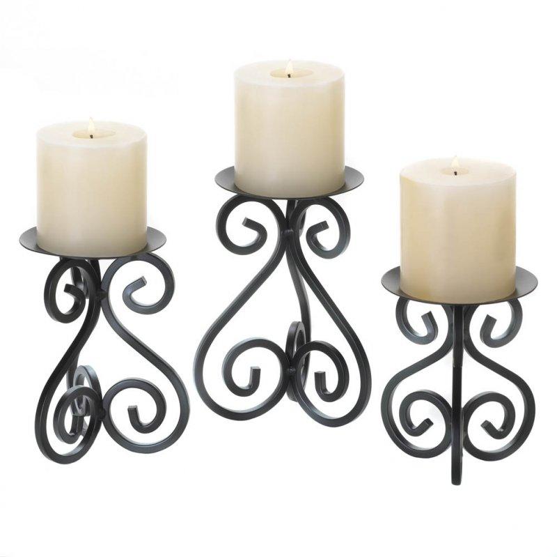 Image 1 of Set of 3 Black Scrollwork Pillar Candle Holder Stands