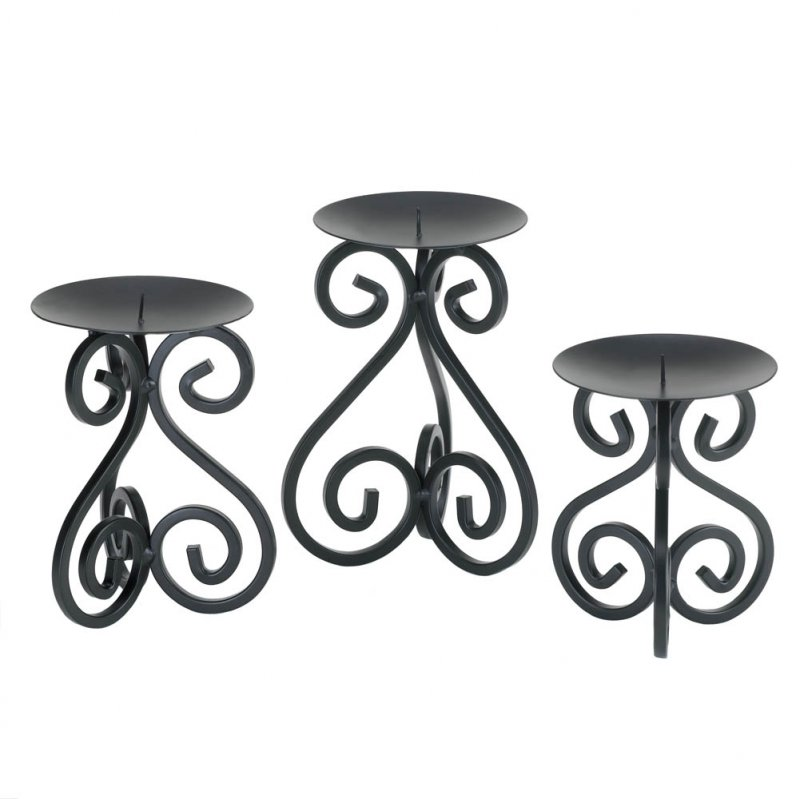 Image 2 of Set of 3 Black Scrollwork Pillar Candle Holder Stands