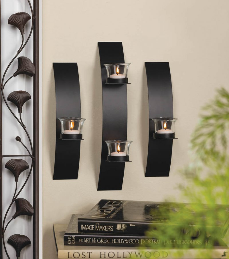 Image 0 of Set of 3 Contemporary Black Candle Wall Sconces