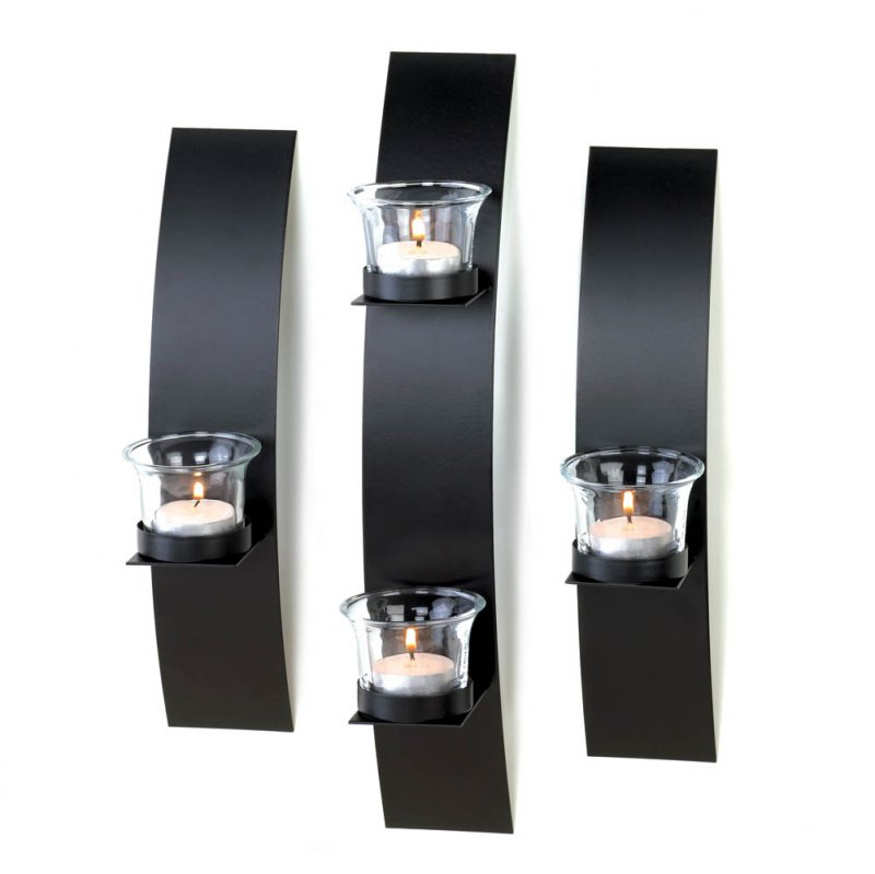 Image 1 of Set of 3 Contemporary Black Candle Wall Sconces