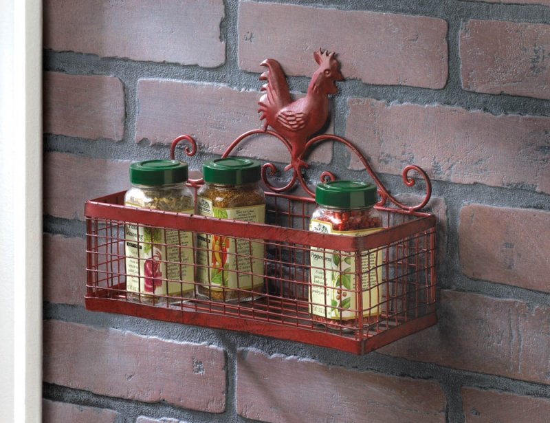 Image 0 of Country Red Vintage Patina Rooster Single Mesh Basket Kitchen Storage Wall Rack