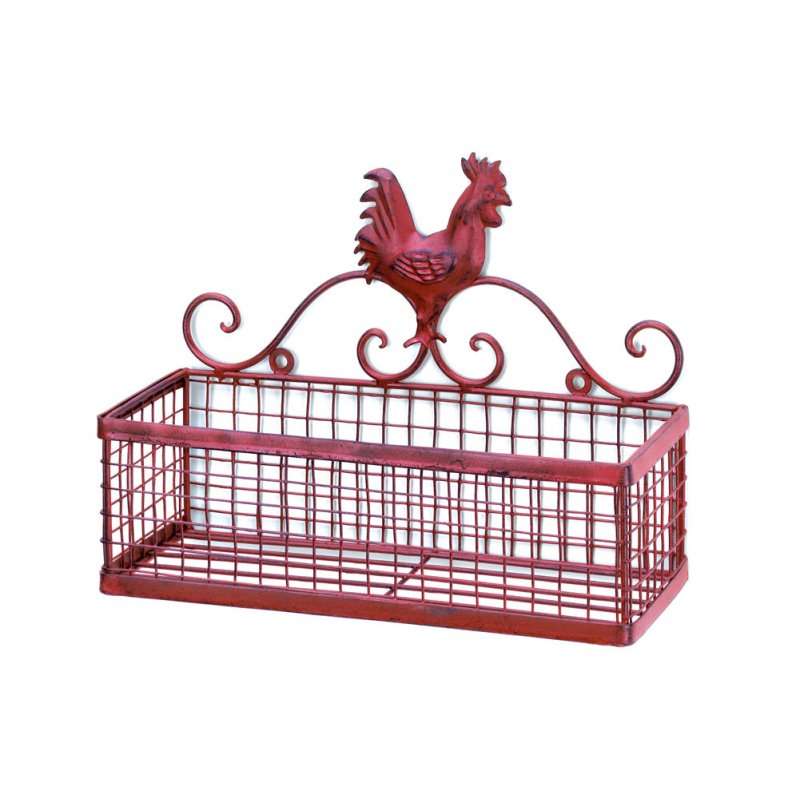 Image 1 of Country Red Vintage Patina Rooster Single Mesh Basket Kitchen Storage Wall Rack
