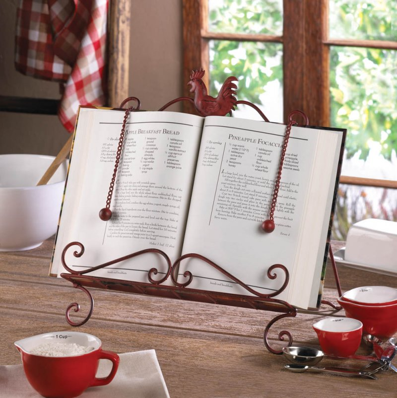 Country Red Vintage Patina Rooster Cookbook, or Tablet Stand 2 Page Keeper Chai