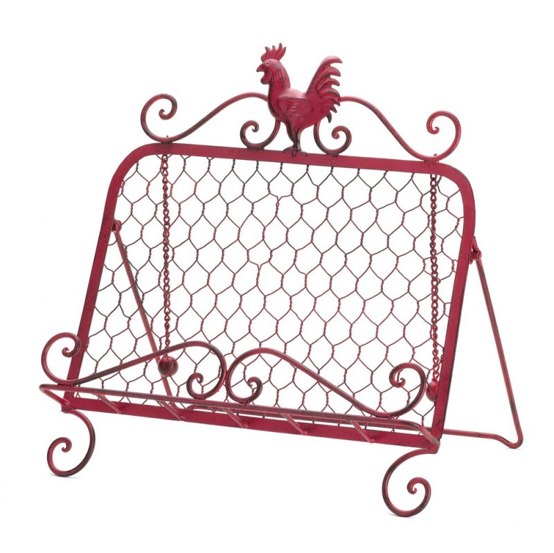 Image 1 of Country Red Vintage Patina Rooster Cookbook, or Tablet Stand 2 Page Keeper Chai