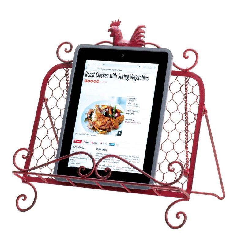 Image 2 of Country Red Vintage Patina Rooster Cookbook, or Tablet Stand 2 Page Keeper Chai