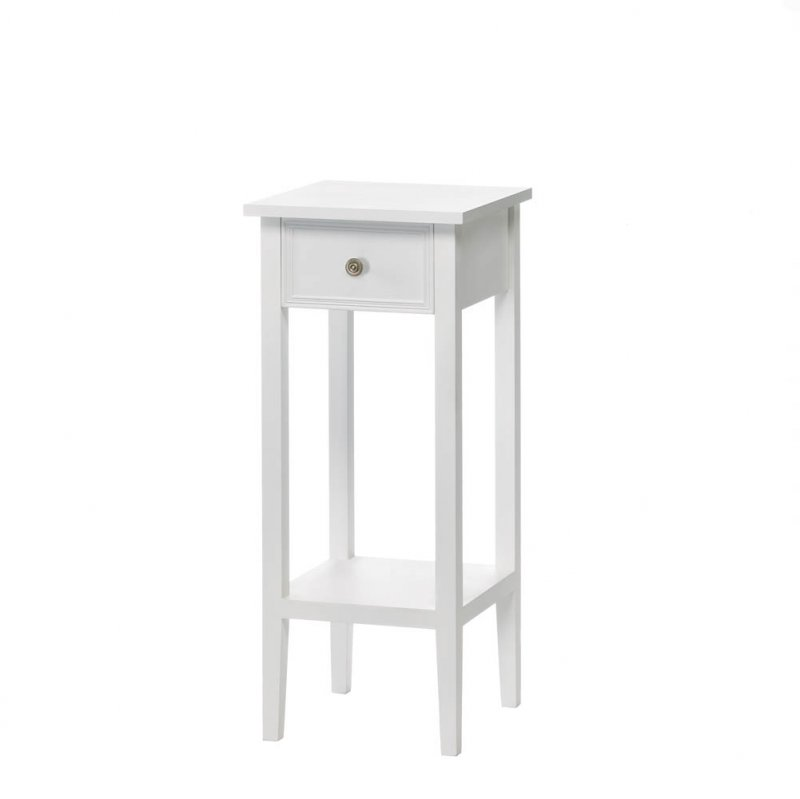 Image 1 of Willow White Slim Side, Accent End Table Night Stand w/ Drawer and Lower Shelf