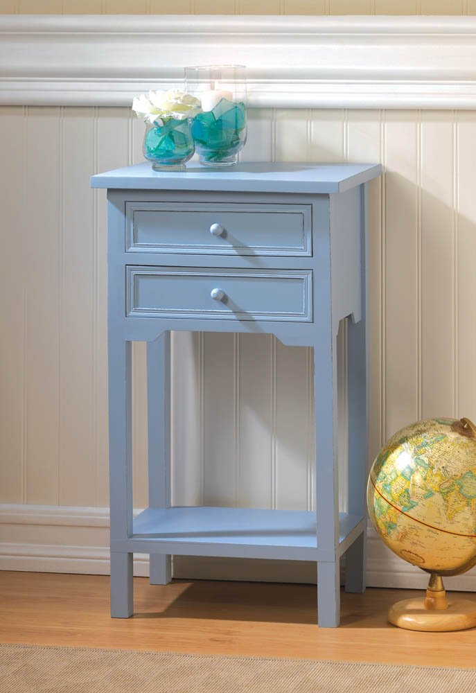 Blue Cape Town Side, Accent End Table Night Stand w/ 2 Drawers and Lower Shelf